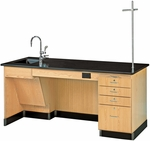 ADA Science Instructor's Wooden Desk with 1'' Thick Black Epoxy Resin Top - 72''W x 30''D x 34''H [1216K-L-ADA-DW]