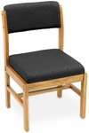 Belcino 34''H Armless Leg Base Side Chair with Oak Wood Frame - Black [B61775MOBK-FS-REG]