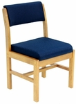 Belcino 34''H Armless Leg Base Side Chair with Oak Wood Frame - Blue [B61775MOBE-FS-REG]