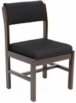 Belcino 34''H Armless Leg Base Side Chair with Mocha Walnut Wood Frame - Black [B61775MWBK-FS-REG]