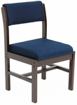 Belcino 34''H Armless Leg Base Side Chair with Mocha Walnut Wood Frame - Blue [B61775MWBE-FS-REG]