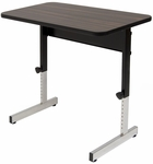 Adapta Work Station Height Adjustable 36''W x 22.25''D Table with Walnut Top - Black [410379-FS-SDI]