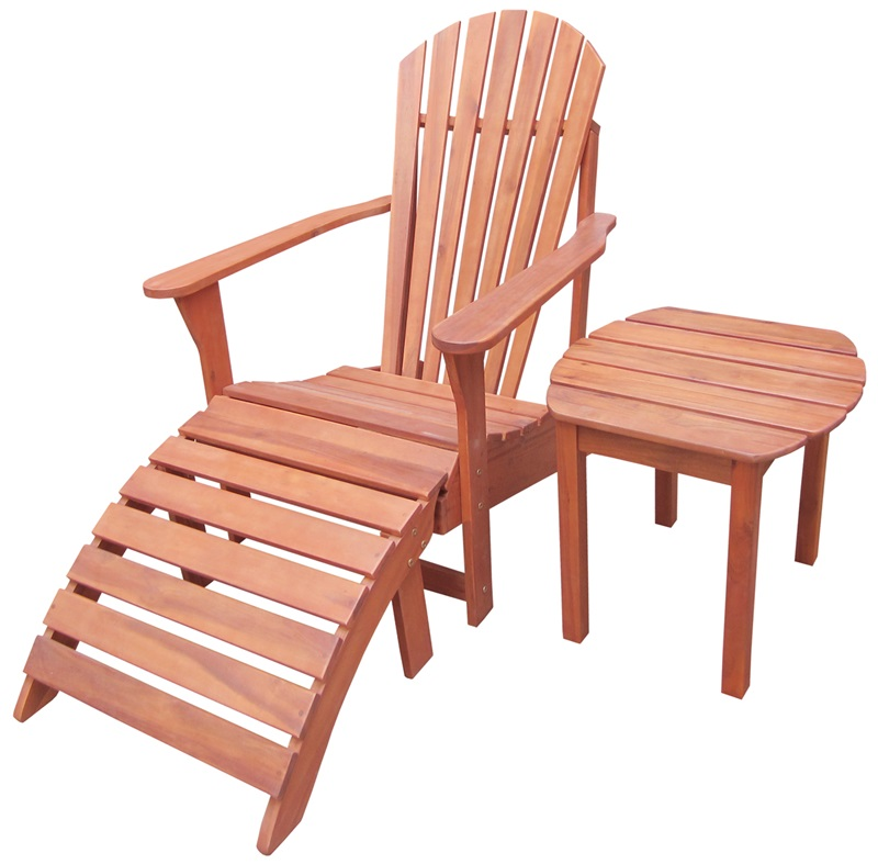 Outdoor Oil Treated Solid Acacia Wood 3 Piece Adirondack Chair With Footrest And Side Table K