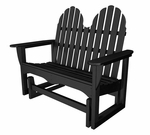 POLYWOOD® Adirondack Collection 48'' Glider Bench - Black [ADGL-1BL-FS-PD]