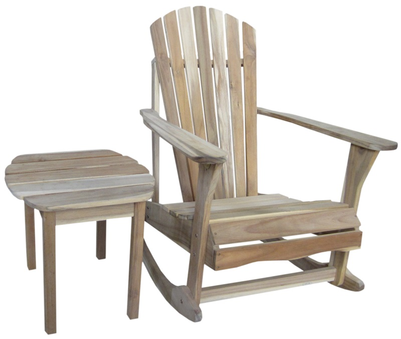 Outdoor Solid Wood 2 Piece Adirondack Rocking Chair With