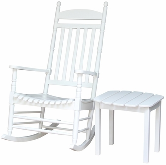 Outdoor Solid Acacia Wood 2 Piece Porch Rocking Chair With Side Table ...