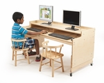 Height Adjustable Wide Birch Computer Desk [WB0483-FS-WBR]