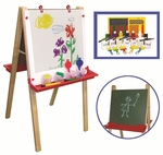 Adjustable Height Floor Easel with 27 Piece Paint and Collapsible Crate Set [ELR-0330-ECR]