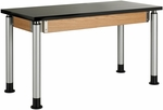 Adjustable Height Science Lab Table with 1.25'' Thick Black ChemGuard Top - 48''W x 24''D x 27''H - 39''H [P8102K-DW]