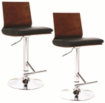 Adjustable Height Swivel Bar Stool - Set Of 2 - Flat Back with Black Faux Leather [10053-FS-LCK]