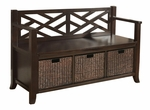Adrien Collection Espresso Brown Entryway Storage Bench with Basket Storage [INT-AXCADR-BNCH-EB-FS-SIH]