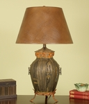 Vintage Mario Aged Bronze Footed Urn 30''H Table Lamp with Brown Lizagator Shade [12T921-FS-PAS]