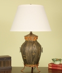Vintage Mario Aged Bronze Footed Urn 30''H Table Lamp with Brussels Linen Shade [12T921LN-FS-PAS]