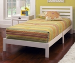 Aiden Wood Platform Bed Set with Ladder Back Headboard - Twin - White [1723-330-FS-HILL]