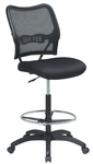 Space Air Grid Back & Mesh Seat Drafting Chair with Built-In Lumbar Support and Adjustable Chrome Footring - Black [13-37N20D-FS-OS]