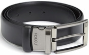 Airport Security Checkpoint Friendly Belt with Detachable Chrome Buckle - Italian Genuine Leather - Waist Size 40 - Black