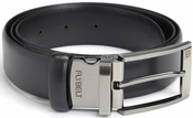 Airport Security Checkpoint Friendly Belt with Detachable Chrome Buckle - Italian Genuine Leather - Waist Size 42 - Black
