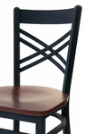 Akrin Metal Cross Back Barstool - Black Wood Seat [2130BBLW-SB-BFMS]