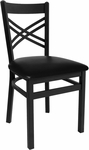 Akrin Metal Cross Back Chair - Black Vinyl Seat [2130CBLV-SB-BFMS]