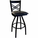 Akrin Metal Cross Back Swivel Barstool - Black Vinyl Seat [2130SBLV-SB-BFMS]