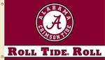 Alabama Crimson 'Roll Tide Roll' 3' X 5' Flag with Grommets [95502-FS-BSI]