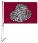 Alabama Crimson Tide Car Flag with Wall Brackett - Hounds Tooth Fedora [97902-FS-BSI]