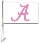 Alabama Crimson Tide Car Flag with Wall Brackett - Pink Design [97402-FS-BSI]