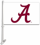 Alabama Crimson Tide Car Flag with Wall Brackett - White Logo Design [97302-FS-BSI]