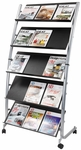 ALBA'S Large Mobile Literature Five level Display - Black with Silver Base [DD5GM-FS-ABA]
