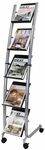 ALBA'S Mobile Floor Literature Five level Display - Black with Silver Base [DD5PM-FS-ABA]