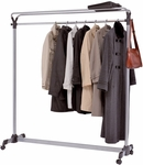 ALBA'S Double Sided High Capacity Mobile Garment Rack with Three Hangers - Chrome [PMGROUP3-FS-ABA]