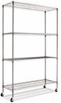 Alera® Complete Wire Shelving Unit w/Caster- 4-Shelf- 48''W x 18''D x 72''H- Black Anthracite [ALESW604818BA-FS-NAT]