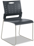 Alera® Continental Series Perforated Back Stacking Chairs - Charcoal Gray - 4/Carton [ALESC6546-FS-NAT]