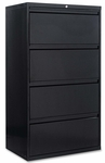 Alera® Four-Drawer Lateral File Cabinet - 30w x 19-1/4d x 53-1/4h - Black [ALELF3054BL-FS-NAT]