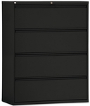 Alera® Four-Drawer Lateral File Cabinet- 42''W x 19-1/4''D x 54''H- Black [ALELF4254BL-FS-NAT]