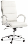 Alera® Neratoli High-Back Swivel/Tilt Chair- White Faux Leather- Chrome Frame [ALENR4106-FS-NAT]