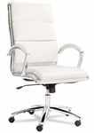 Alera® Neratoli Series High-Back Swivel/Tilt Chair - White Faux Leather - Chrome [ALENR4106-FS-NAT]