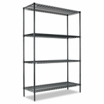 Alera® All-Purpose Wire Shelving Starter Kit - Four-Shelf - 48''W x 18''D x 72''H - Green [ALESW204818GN-FS-NAT]