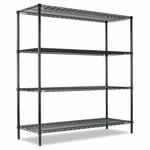 Alera® All-Purpose Wire Shelving Starter Kit - Four-Shelf - 60''W x 18''D x 72''H - Green [ALESW206018GN-FS-NAT]