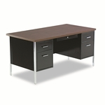 Alera® Double Pedestal Steel Desk - 60''W x 30''D x 29-1/2''H - Walnut/Black [ALESD6030BW-FS-NAT]
