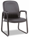 Alera® Genaro Series Guest Chair - Black Leather - Sled Base [ALEGE43LS10B-FS-NAT]