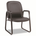 Alera® Genaro Guest Chair - Black Leather - Sled Base [ALEGE43LS10B-FS-NAT]