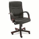 Alera® Madaris Series High-Back Knee Tilt Leather Chair w/Wood Trim - Black/Mahogany [ALEMA41LS10M-FS-NAT]