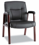Alera® Madaris Series Leather Guest Chair w/Wood Trim - Four Legs - Black/Mahogany [ALEMA43ALS10M-FS-NAT]