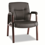 Alera® Madaris Leather Guest Chair w/Wood Trim - Four Legs - Black/Mahogany [ALEMA43ALS10M-FS-NAT]