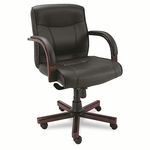 Alera® Madaris Mid-Back Swivel/Tilt Leather Chair w/Wood Trim - Black/Mahogany [ALEMA42LS10M-FS-NAT]