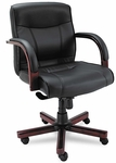 Alera® Madaris Series Mid-Back knee Tilt Leather Chair w/Wood Trim - Black/Mahogany [ALEMA42LS10M-FS-NAT]