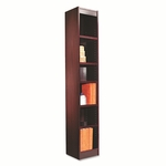 Alera® Narrow Profile Bookcase - Wood Veneer - Six-Shelf - 12w x 11-3/4d x 72h - Mahogany [ALEBCS67212MY-FS-NAT]