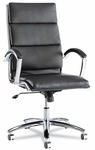 Alera® Neratoli Series High-Back Swivel/Tilt Chair - Black Soft Leather - Chrome Frame [ALENR4119-FS-NAT]