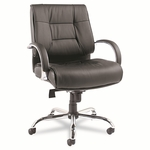 Alera® Ravino Big & Tall Series Mid-Back Swivel/Tilt Leather Chair - Black [ALERV45LS10C-FS-NAT]